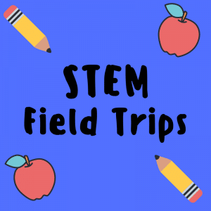 STEM Field Trips graphic with apples and pencils