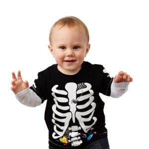 Toddler in a skeleton t-shirt as a Halloween costume