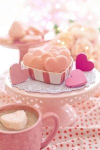 Heart cookies on Valentine's Day tablescape