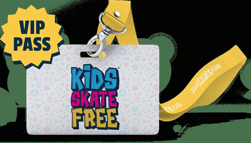 Kids Skate Free badge on lanyard